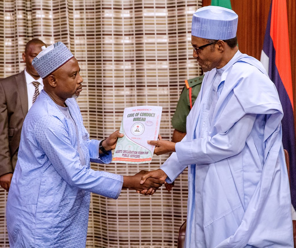 President Muhammadu Buhari receives asset declaration form from Chairman of the Code of Conduct Bureau (CCB), Prof. Muhammad Isa today, at the State House, Abuja.