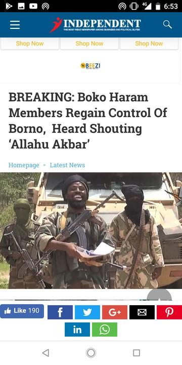 Boko Haram Sacks Military Base In Borno, Shouts 'Allahu Akbar'