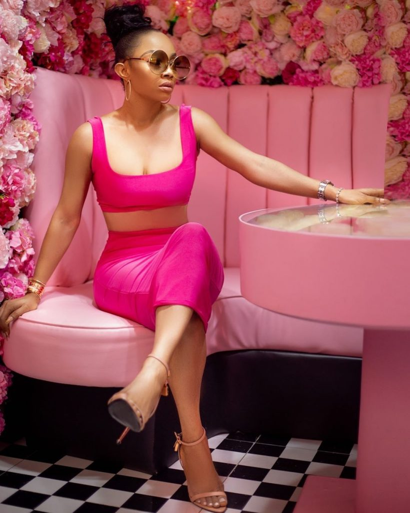 """Toke Makinwa stuns in new photos. She took the photo to her official social page and captioned it """"Barbie would be jealous""""."""