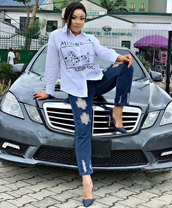 "The BBNaija ex housemate, Nina Chinonso poses with a Benz in new photos, she captioned it ""Catch me up""…"