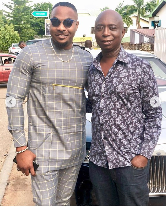 Days after being featured in a new movie with the mother of his wife, this time actor, Bolanle Ninalowo meets with billionaire, Ned Nwoko as they poses together at his residence in Abuja.  BIG NED: Nino you are taller than me! Me: sir you mean my height sir! Abi
