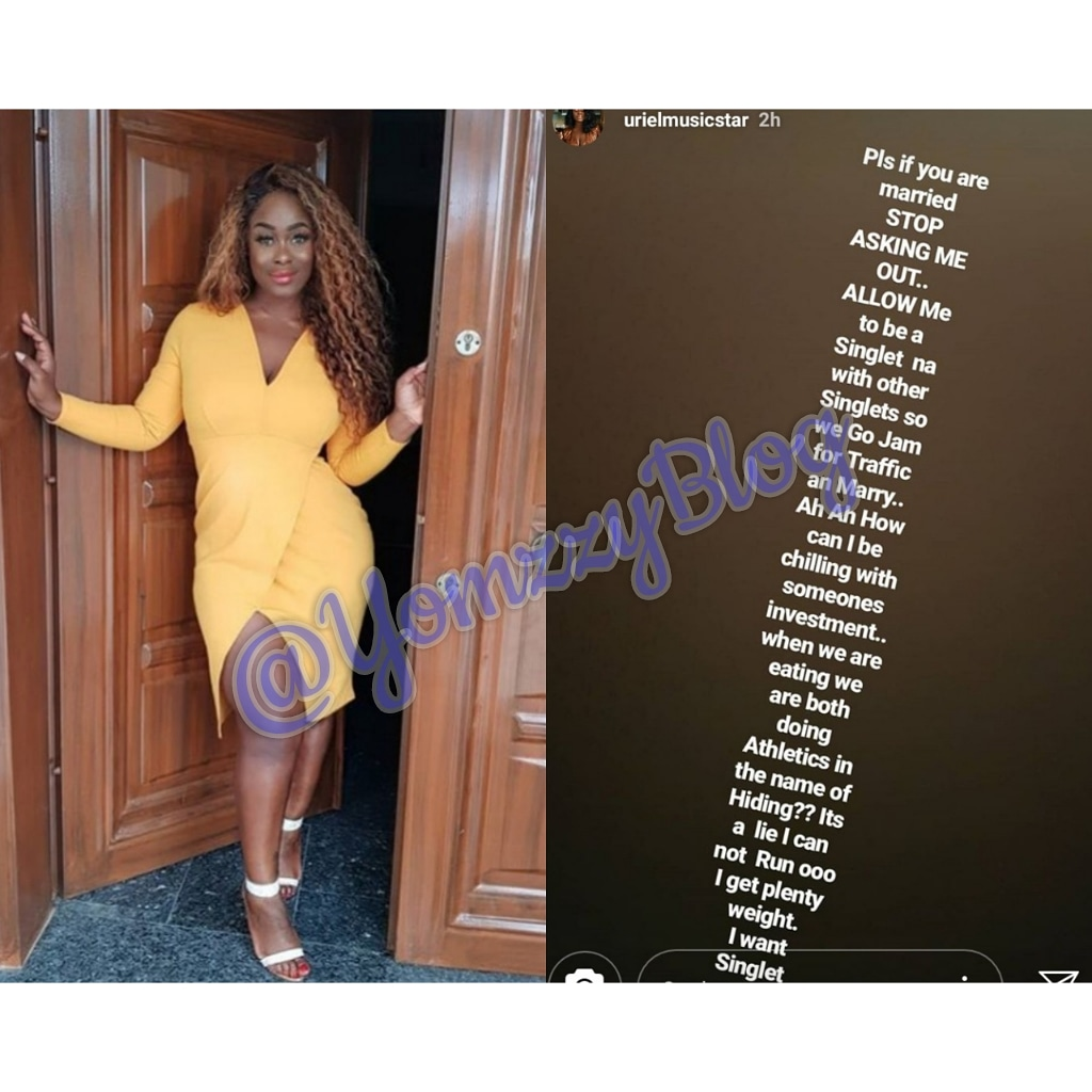 Former big brother naija contestant, Uriel Oputa has taken to her social media space to caution married men to leave her alone so that she can meet a single guy.
