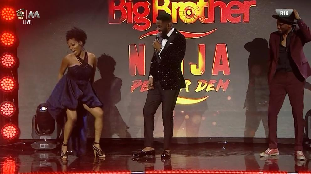 """As BBNaija 2019 host """"Ebuka"""" presents Khafi on stage as one of the 2019 reality TV show housemates, she made it clear that she's a police officer in london"""