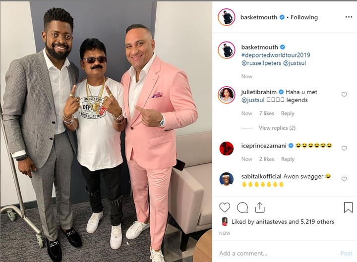 Basketmouth is one of the comedians scheduled to perform with Russell Peters on his comedy world tour 'Deported', alongside other known acts like Just Sul, Jason Collings and many others. Basketmouth shared a photo with Russell Peters and Just Sul, confirming that he is part of the comedy world tour with the ace comedians.  See his post below;