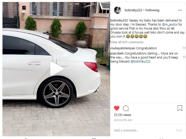 Controversial Nigerian barbie, Okuneye Idris popularly known as Bobrisky via her official instagram page, flaunts her newly acquired white Mercedes Benz in a video.