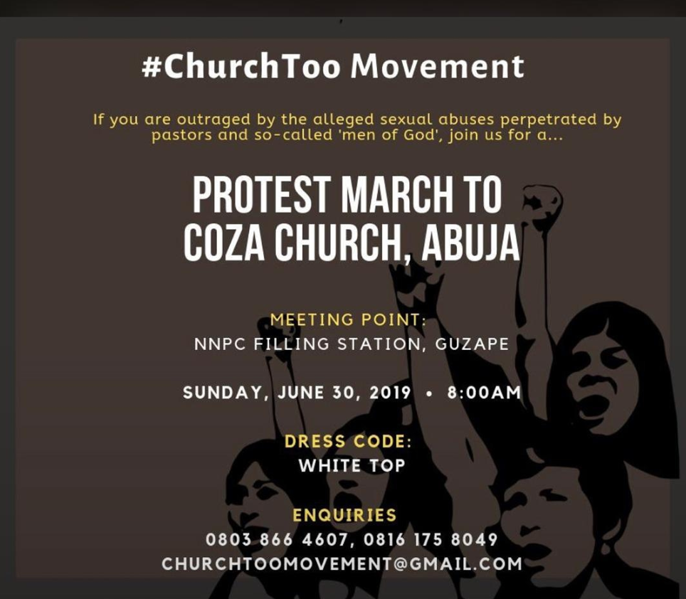 Nigerians have organized a protest in Abuja on Sunday Morning at the church of Pastor Biodun Fatoyinbo by 8am over Bukola Dakolo's Rape Allegation. The protest would be held by 8am in front of COZA church auditorium.