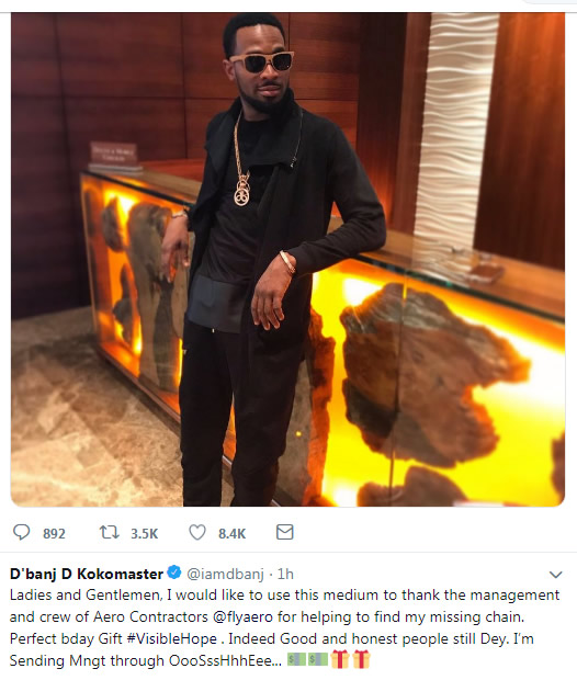 Popular Nigerian musician and koko master, Oladapo Oyebanji, a.k.a. Dbanj's gold neck chain worth millions of naira, Sunday, went missing while he was on a flight from Port Harcourt to Lagos.  This was later reportedly found by the management of the airline the boarded and returned to him. The artist made this revelation via his twitter handle.