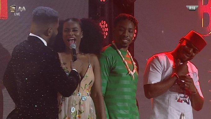 BBNaija 2019:- Frodd, Ike, And Ella On Stage As Ebuka Presents Them