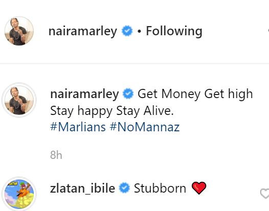 Naira Marley who was released on bail two days ago after spending 35-days in jail for fraud related crimes has made his return to social media. In his first post, he shared the photo above and wrote, 'get money, get high, stay happy, stay alive'.
