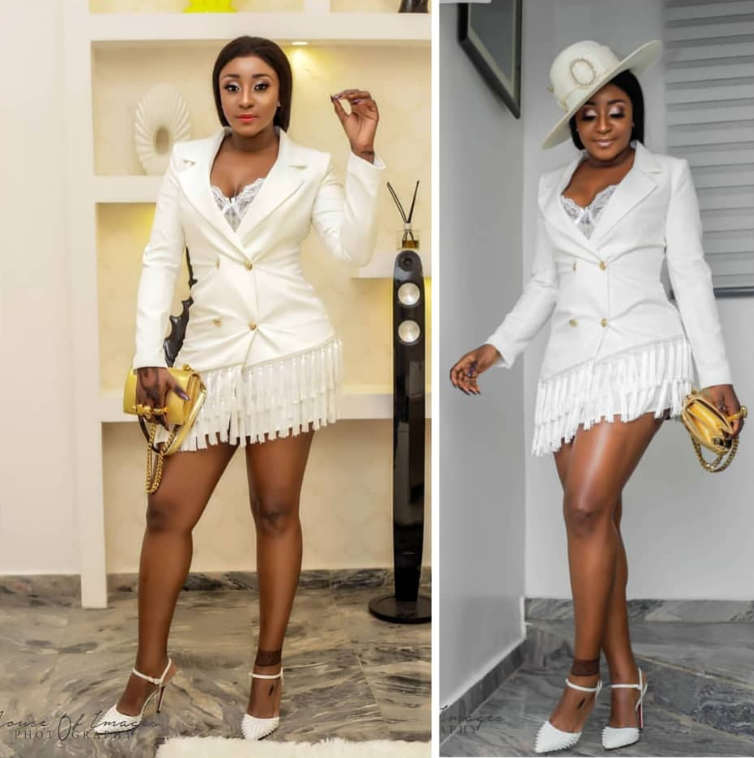 Ini Edo Stunning In White And Gold Ensemble
