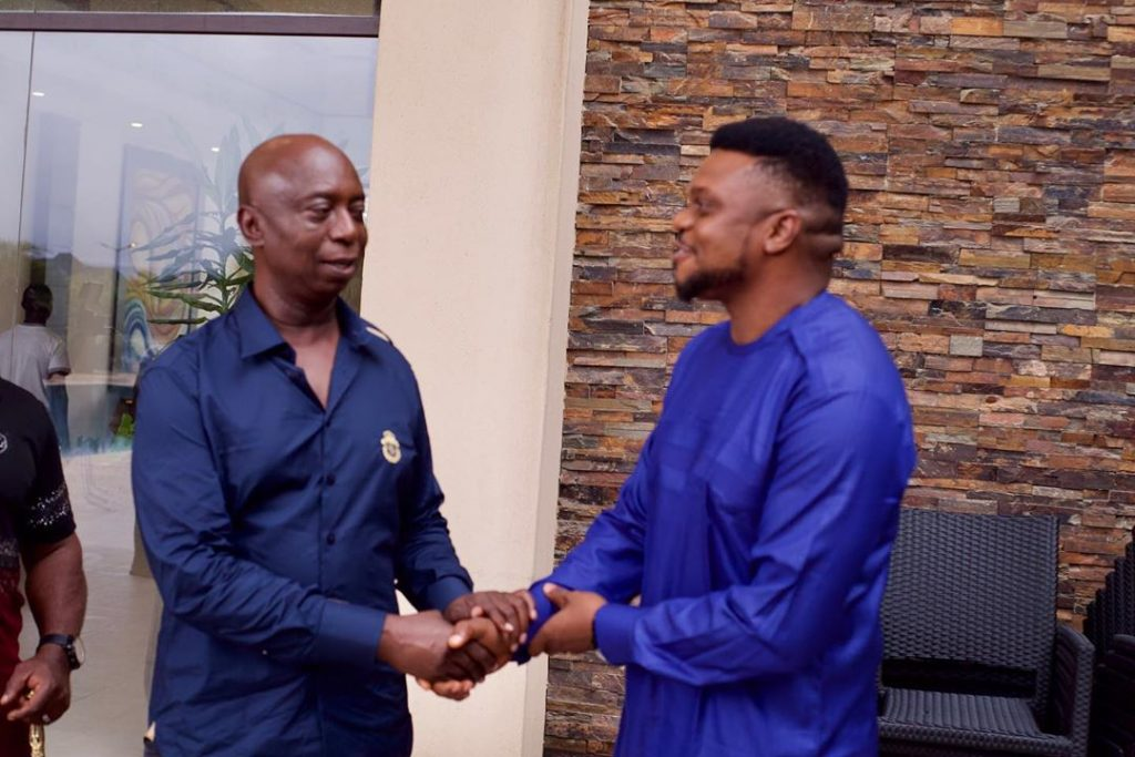 Nollywood Actor, Ken Erics meets with billionaire, Ned Nwoko as they poses together at his residence in Abuja.  The actor is currently on set in a movie produced by the mother of his wife, Rita Daniels.