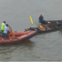 A man jumps off Awolowo bridge in Lagos. The boat service operators came for his rescue.