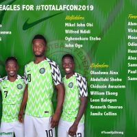 The NFF has released the list of players that will represent Nigeria at the 2019 African Cup of Nations in Egypt.