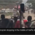 A man who was picked up by a helicopter in the middle of a huge traffic jam in Nigeria had suffered a stroke, the helicopter company has told the BBC. The video from Sunday spread widely on social media, with many speculating it showed a billionaire who had called the helicopter to escape the four-hour long traffic jam. The video provoked condemnation about the behaviour of Nigeria's super rich. But the helicopter operator says it is normal to respond to emergency calls.