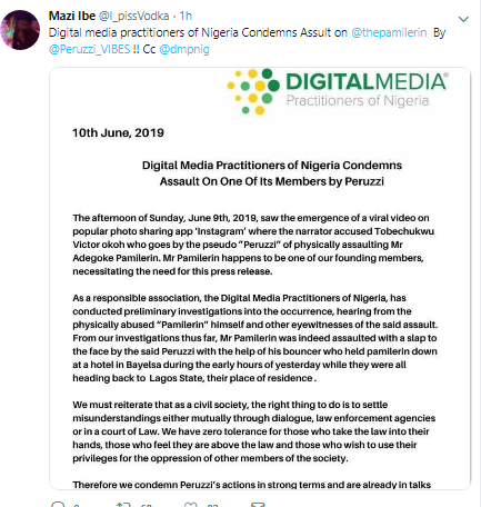 Despite the open apology made by Peruzzi and Davido regarding the physical assault in the early hours of today, the Digital Marketing Practitioners of Nigeria (DMP) has condemned the assault on one of their members, Pamilerin. The statement issued by DMP stated that legal actions are already underway to investigate the incident. The statement was shared via another very popular Twitter influencer's page and member of DMP @i_pissvodka.