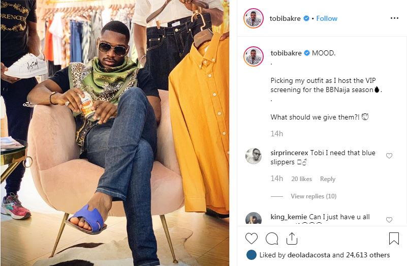 The Former Big Brother Naija housemate, Tobi Bakre picks his outfit in preparation for his VIP hosting in the 2019 edition of BBNaija.