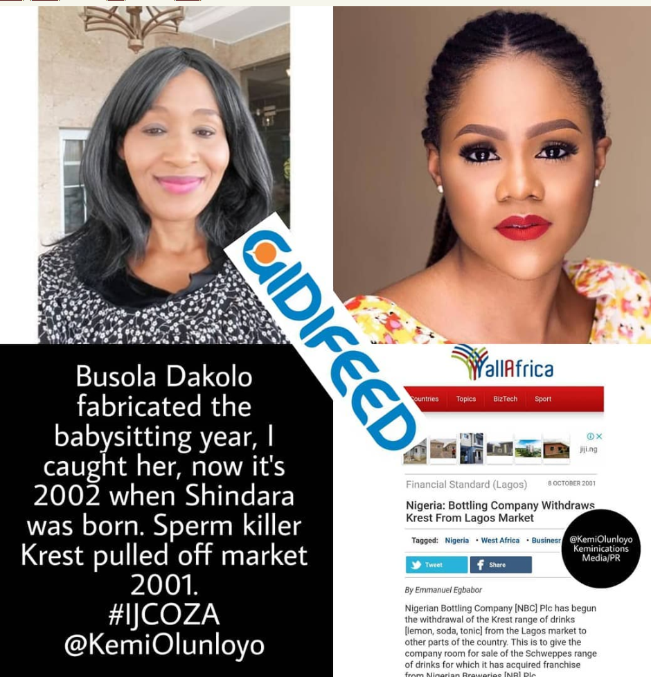 Retired Journalist, Kemi Olunloyo took to her Instagram page to reveal some shocking details about the Busola Dakolo rape allegation by COZA Pastor, Biodun Fatoyinbo. She revealed that Busola lied about baby sitting, Pastor Biodun daughter, Shindara and also said the Krest was shutdown in 2001. See post.. Busola Dakolo fabricated the babysitting year, I caught her, now it's 2002 when Shindara was born. Sperm killer Krest pulled off market 2001. How could Pastor @biodunfatoyinbo have fed her Krest Bitter Lemon in a fabricated 2002 rape assuming he was taking her to babysit and they stopped in the bush to have intercourse? __ The Coca Cola company told me today that they shifted the market for Schweppes bitter lemon so they don't sell the same two product in one market. Today they even manufactured Teem as a newer affordable bitter lemon. Pathetic liar @busoladakolo did not practice her interview well with @ynaijatelevision. Her motive to destroy this pastor and church are unclear. She has refused to INTERVIEW with me or any other outlets as she's been paid for this exclusive HOGWASH. z
