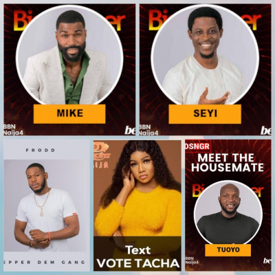 """Five Housemates are up for possible Eviction coming Sunday. Frodd, Tacha, Tuoyo, Mike and Seyi Seyi who won the """"Veto Power of Chance"""" challenge had the option of """"Save and Replace"""". Seyi decided to decline and stand instead for nomination for the possible Eviction on Sunday. He was further banned by 'Biggie' from participating in further veto Power Challenge contests. At least one nominated housemate is expected to leave on Sunday, 21/07/2019. Voting platforms open by 7:30PM WAT today."""