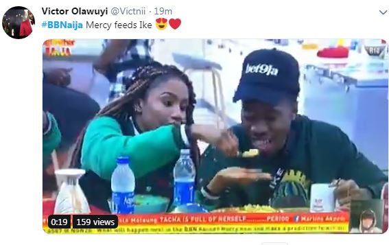 The love between these two Big Brother Naija housemates, Mercy and Ike is getting stronger as the show proceeds. She was pictured feeding him his food.