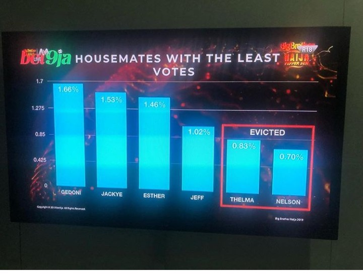 Below is how Nigerians voted for their favorite housemates in the house, Thelma and Nelson with lowest percentage. Thelma and Nelson becomes the 8th housemates to be evicted from the big brother 4, leaving 14 contestants behind.
