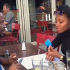 A video of Khafi with Nollywood Actor Okon Lagos in a london resturant trends online…