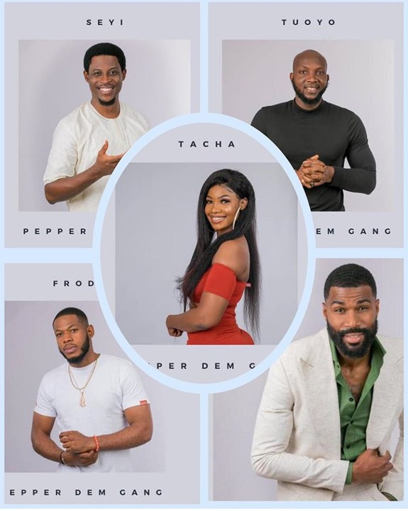 Each of the housemates was called into the Diary Room. It was the Nomination time and the Pepper Dem gang had to choose who will be Evicted at the Live Show on Sunday.  Here's how each of the Housemates Nominated one another.  Housemate Nomination;  Esther  Mike and Jeff  Tuoyo  Jeff and Mike  Thelma  Frodd and Tacha  Ike  Seyi and Frodd  Seyi  Frodd and Tuoyo  Mike  Seyi and Tacha  Tacha  Frodd and Gedoni  Omashola  Tacha and Frodd  Diane  Seyi and Mike  Sir Dee  Jackye and Frodd  Jackye  Tacha and Tuoyo  Frodd  Omashola and Tuoyo  Nelson  Gedoni and Seyi  Jeff  Seyi and Tuoyo  Mercy  Frodd and Mike  Gedoni  Mike and Tuoyo  Khafi  Seyi and Thelma  Also, check out who got the most and the least Nominations below.  Frodd 7  Seyi 6  Tuoyo 5  Mike 5  Tacha 4  Jeff 2