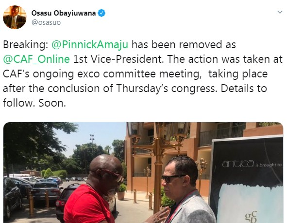 Nigeria Football Federation chairman, Amaju Pinnick, has been reportedly removed as vice president of CAF.  The action was taken at CAF's exco committee meeting taking place after the conclusion of Thursday's congress, according to BBC's Osasu Obayiuwana, who did not detail the reason in his twitter post.  Constant Omari is now CAF's first vice president, while Morocco's Fouzi Lekjaa is the second vice and South Africa's Danny Jordaan the third.  CAF exco has been faced with fraud allegations in recent time, with president Ahmad Ahmad arrested and detained for hours in France.  Pinnick is also facing court case over fraud allegation in his home town in Nigeria, where he has refused to show up in court.