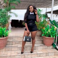 The ex-housemate of BBNaija, Cynthia Nwadiora popularly known as Cee-C wows in this sultry outfit. She rocks black bum short with a chic black top with white collar design. She paired with a pair of black stilletos and a black designer bag.