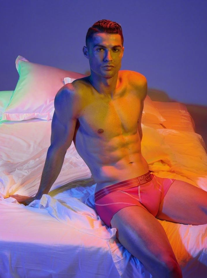 One of the world's greatest footballers, Cristiano Ronaldo is extremely sexy in new promo shots for his underwear line. Cristiano Ronaldo shared the photos with his 176 million Instagram followers. Cristiano Ronaldo stripped down to his briefs, showing off his muscular body , bulge and perky butt. We can't get enough of these pictures!