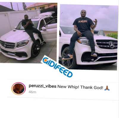 DMW Artiste, Perruzi Poses With His New Benz DMW Artist Peruzzi as joins likes of SpeedDarlington, other Nigeria n celebrities as he purchases a brand new benz car. He took to his page to make the announcement.