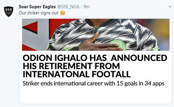 Odion Ighalo has reportedly called it quits with the Super Eagles shortly after a successful campaign at AFCON 2019. The former Watford striker and Shanghai Shenhua striker is a strong contender for the Golden Boot award after scoring five goals in the tournament.  Renowned Sports journalist Osasuo and Brila FM are reporting that Ighalo agreed with Super Eagles coach Gernot Rohr not to make a public statement before the third-place playoffs with Tunisia.