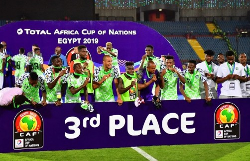 The Super Eagles of Nigeria will get N714m ($2m) from the Confederation of African Football (CAF) for participating and coming third at the recently concluded 2019 Africa Cup of Nations (AFCON) in Egypt. Nigeria finished third after beating Tunisia 1-0 in the third-place game to win the bronze medal for a record eighth time in AFCON history. African Cup of Nations champions, Algeria will get the sum of $4.5 million, while the second-placed team Senegal will get $2.5m. The prizes will be distributed as follows: Angola and Kenya (Third place in group-stages): $620.000 Round of 16: $670.000 (Benin, Uganda, Egypt, Mali, Guinea, DR Congo, Cameroon and Ghana) Quarter-finals: $800.000 (Madagascar, Ivory Coast, South Africa and Benin) Semi-finalists: $2 million (Nigeria and Tunisia) Senegal: $2.5 million. Algeria: $4.5 million.