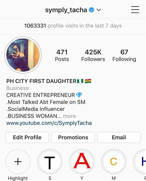 symply tacha becomes the first bbnaija season4 housemate to earn a verified badge on Instagram while in the house.
