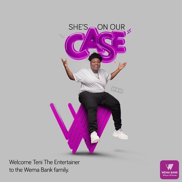 "Nigerian singer and songwriter, Teni revealed on her instagram handle @Tenientertainer that she is now a brand ambassador for Wema Bank. In a post which she made on Friday, July 12, 2019, Teni said the bank is her new family and she is excitement to be the bank brand ambassador. She posted; ""WEMABANK!! MY NEW FAMILY, ""I'm super excited to be part of the @wemabank@alat_ng family as the #BrandAmbassador.""#TeniDeyOkayWithALAT #ALAT #WEMA#CANTSTOPWONTSTOP."""