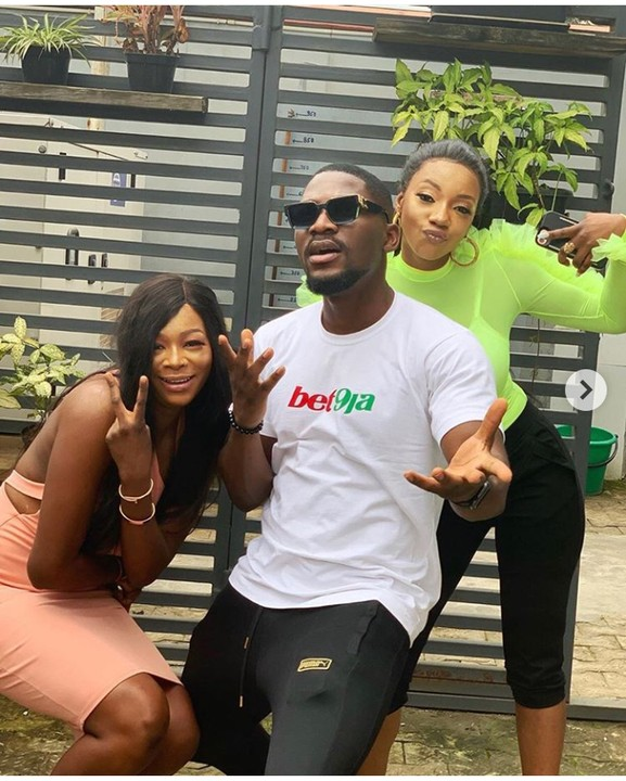 Newly evicted housemates from the 4th edition of the Big Brother Naija reality TV show, Avala and Isilomo hangout with ex contestant, Tobi Bakre who is currently Bet9ja brand ambassador. Avala and Isilomo are currently on their media tour after their eviction from BBNaija house.