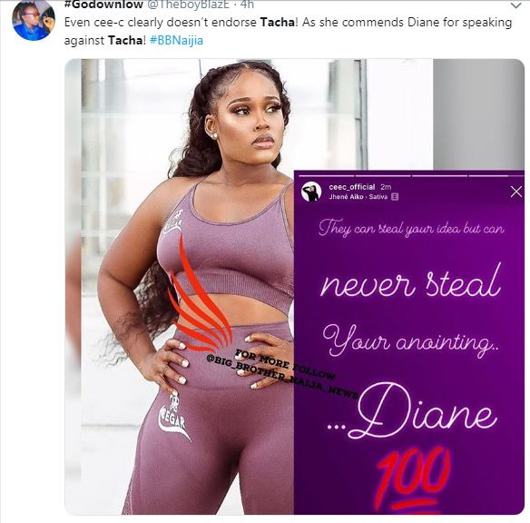 The former Big Brother Naija housemate, Cynthia Nwadiora popularly known as CeeC was also a sauce during her own season of BBNaija as she got loved by so many viewers while in the house. She opted in for this on going Big Brother Naija PepperDem season where she commended one of the most beautiful female housemate, Diane for speaking against Tacha who has been so saucy in the house from the start. CeeC showed her support for Diane in the process, see what she wrote…