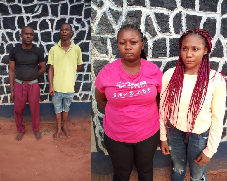"The Anambra state police command have arrested two ""one chance"" robbery suspects and their female accomplices. A statement from the command says the suspects were arrested after their failed attempt to rob a 30-year-old woman, Nwanye Philomina of her N400, 000 on Tuesday July 30th."