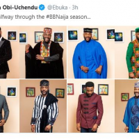 """The Big Brother Naija host and fashion Enthusiast, Ebuka Uchendu shares photos of the outfits he wore during all the eviction show for this season of the show. He captioned the photos """"Almost halfway through the #BBNaija season…"""""""