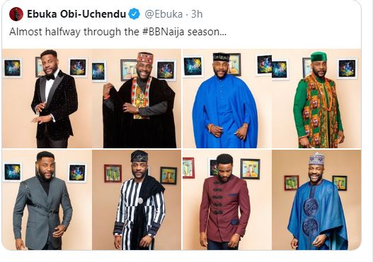 "The Big Brother Naija host and fashion Enthusiast, Ebuka Uchendu shares photos of the outfits he wore during all the eviction show for this season of the show.  He captioned the photos ""Almost halfway through the #BBNaija season…"""