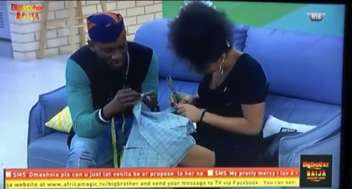 BBNaija housemate Omashola has finally opened up to Venita that he likes her and he's really going to be pained if she has a boyfriend.