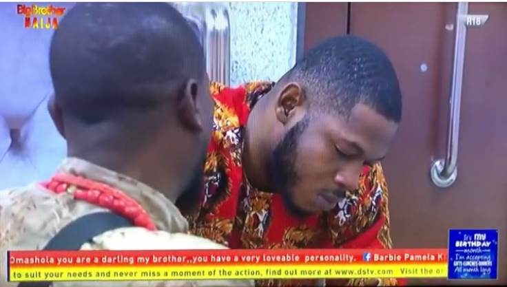 """Big brother Naija season 4 pepper dem male housemates, Omashola and Frodd who have been having alot of issues with each other over one of the new female housemates Venita tried settling their issues but Omashola got emotional and started crying.  While they settled their scores, Omashola pointed out that he will never allow himself and another man fight because of a woman or money.  He went on to share how he lost """"the most beautiful girl in the world"""" because of his bad behaviour. According to him, he sent his mum a picture of his ex while they were still together and his mother who appeared to like the girl, asked him to hurriedly take her to his dad. He added that when his dad saw his ex, he asked him to marry her. Sadly, he behaved badly and the girl dumped him a year ago.  His tears showed he is still grieving the loss of the relationship."""