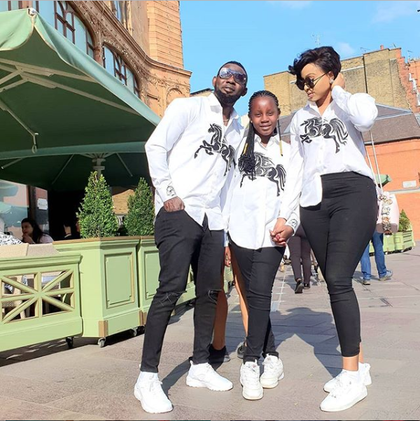 Comedian, AY, who is currently on vacation in the UK with his wife, Mabel and their daughter, Michelle, shared this cute photo of them rocking matching outfits as they stepped out together.