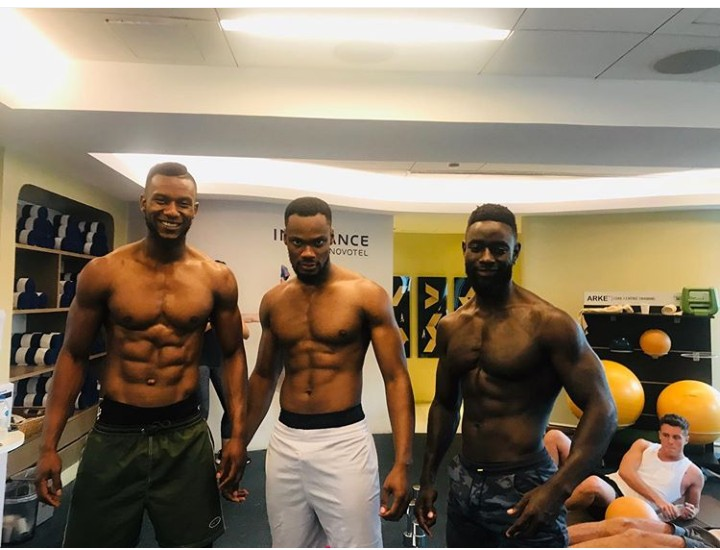 Current Mr Nigeria holder of 2018 edition, Nelson Enwerem is currently representing Nigeria for 'Mr World' competition taking place in Quezon City, Philippines.Nelson Enwerem poses with Mr Cameroon and Mr Kenya in shirtless photo as they shows of their muscles