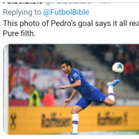 This Pedro goal is the best goal you will only see in football and will make you watch it number of time. Pedro just scored this goal for Chelsea. That's an absolutely disgusting finish. Class.