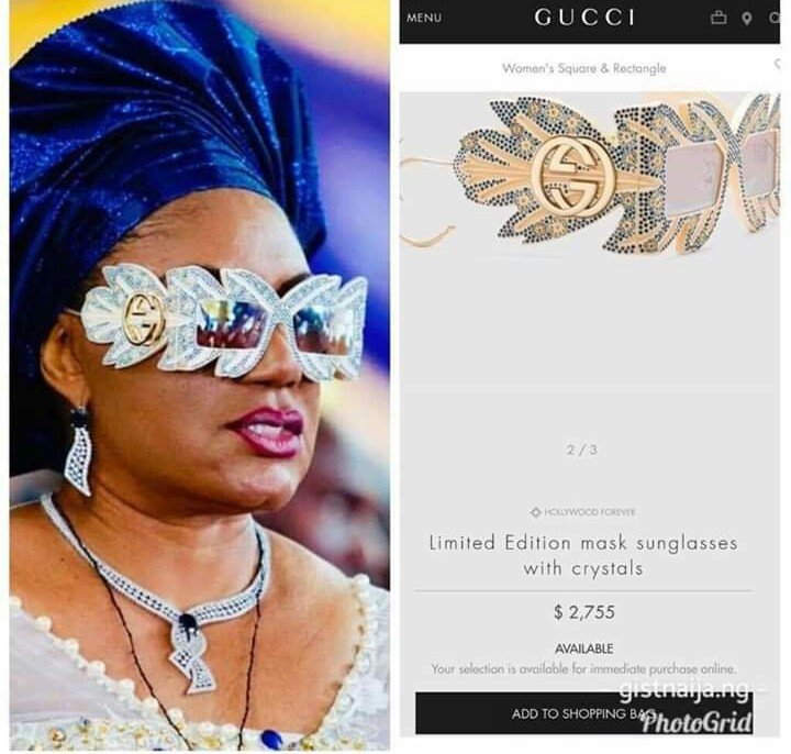 Turns out, its a designer 'Gucci Limited Edition Mask Sunglasses with Crystals' that costs $2,755; approximately (N991,800).
