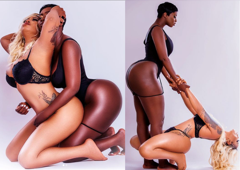 Celebrity stylist, Toyin Lawani has released more raunchy photos of herself posing with Gambian actress, Princess Shyngle. In the photos, the pair were pictured holding each other seductively while clad in black lingerie. In her previous post, Lawani, who shut down Instagram yesterday with completely naked photos of herself, stated that she would have dated Princess Shyngle if she were a Lesbian.