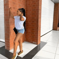 Evicted BBNaija housemates, Enkay who's a fashion designer, rock bum shorts as she steps out in style. Recall Enkay and her team, Mike, Jackye and Elozonam won the Oppo fashion runway show with one million naira cash prize and 10 mobile phones.