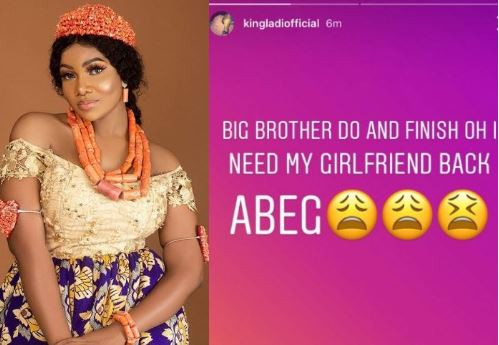 Its day 62 0f 99 on this season's Big Brother Naija reality show and Tacha's boyfriend has pleaded with Biggie to wrap up the show on time so he can be with his boo.  Tacha has however said countless times that she intends to be in the house till the 99th day.