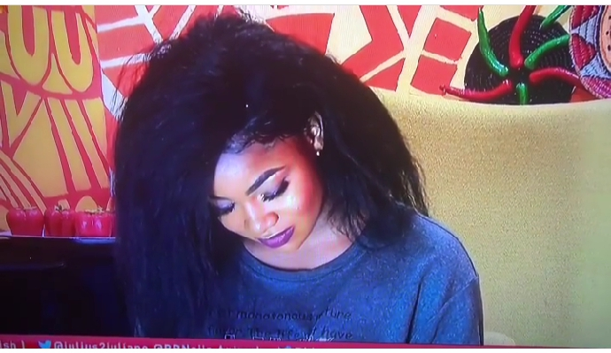 Biggie, on Sunday, issued a second strike to housemate Tacha for disrespecting authority. Tacha was issued the strike after Biggie played videos of her disobeying the house rules. Big Brother gathered the housemates in the lounge and played several videos of Tacha's disrespect to authority and fellow housemates. Biggie also said Tacha undermined the world of Big Brother. Tacha had two weeks ago received her first strike for provocation. During a diary session yesterday in the video, Tacha who is closed to the Verge of being disqualified, goes down on her kneels to apologized to Biggie for undermining his instructions and been disrespectful. In her world; Biggie I'm very sorry for for been disrespectful and undermining your words, please I don't feel worthy to seat. Biggie say to her, Tacha please rise you are in the Big Brother House.