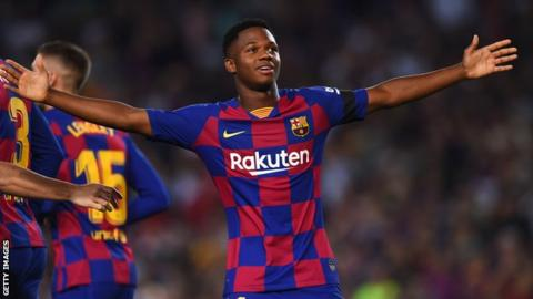 Barcelona's teenage forward Ansu Fati has been granted Spanish citizenship paving the way for him to play for them at international level. The 16-year-old is also eligible to play for Guinea-Bissau where he was born, and also for Portugal through his grandparents. Fati's application for Spanish citizenship was processed by the country's Interior Ministry after he completed the required 10 years of residency. It means that he could be included in Spain's squad for the Under-17 World Cup, ahead of next week's deadline. Even if he plays for Spain at under-17 level Fifa's statutes mean that Fati could still swap allegiances at senior level. On Tuesday he became Barcelona's youngest-ever Champions League debutant as he started the 0-0 draw at Borussia Dortmund. He has already scored two goals this season in his three La Liga appearances.